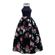 Kadın's Parti Dışarı Çıkma Vintage Sokak Şıklığı Çan Elbise - Çiçekli, Arkasız Bisiklet Yaka Midi