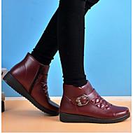 Dame Sko Egte Lær PU Vinter Høst Trendy støvler Støvler Flat hæl Ankelstøvler til Avslappet Svart Brun Rød