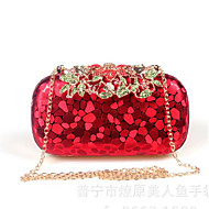 Women Bags PU Clutch Buttons for All Seasons Gold Black Red Silver