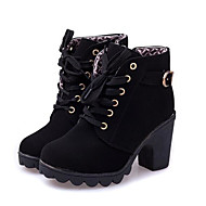 cheap Women's Boots-Women's Shoes Nubuck leather / PU(Polyurethane) Fall / Winter Basic Pump / Combat Boots Boots Flat Heel Booties / Ankle Boots Black /