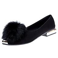 Feminino Sapatos Couro Ecológico Outono Inverno Conforto Rasos Rasteiro Dedo Apontado Penas Para Casual Preto Cinzento Verde