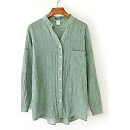 Veći konfekcijski brojevi Majica Žene Rad Jednobojni V izrez Lan