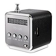 TD-v26 Ministil Tidsviser 3.5mm AUX Højtalere Til Udendørsbrug Sort Sølv Blødrød Lyseblå