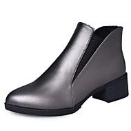 お買い得  レディースブーツ-女性用 靴 PUレザー 冬 秋 コンバットブーツ ブーツ ローヒール ポインテッドトゥ ブーティー/アンクルブーツ のために カジュアル ブラック ライトブラウン