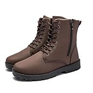 Masculino sapatos Micofibra Sintética PU Couro Ecológico Courino Inverno Conforto Botas Botas Cano Médio Ziper Cadarço Para Casual Preto