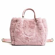 tanie Torby tote-Damskie Torby Futro Tote Zamek na Na wolnym powietrzu Zima Jesień White Blushing Pink Khaki