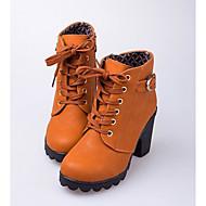 baratos Sapatos Femininos-Mulheres Sapatos Pele Nobuck / Couro Ecológico Outono / Inverno Plataforma Básica / Coturnos Botas Sem Salto Botas Curtas / Ankle Preto /