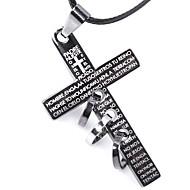 Herre Kort halskæde Halskædevedhæng Krydsformet Læder Titanium Stål Kors Personaliseret Smykker Til Afslappet I-byen-tøj