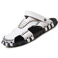 Masculino sapatos Couro Ecológico Primavera Outono Conforto Sandálias Para Casual Branco Preto Marron