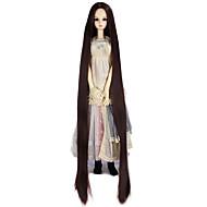Naisten Synteettiset peruukit Suojuksettomat Hyvin pitkä Kinky Straight Tumma kastanja Doll Wig Rooliasu peruukki