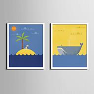 Dyr Tegneserie fantasi Innrammet Lerret Innrammet Sett Veggkunst,PVC Materiale med ramme For Hjem Dekor Rammekunst Stue Kjøkken Spisestue