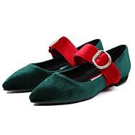 レディース 靴 ヌバックレザー 春 秋 バレリーナ フラット スティレットヒール 用途 カジュアル ブラック レッド グリーン