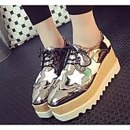 נשים נעליים PU אביב סתיו נוחות נעלי אוקספורד מטפסים עבור קזו'אל שחור כסף