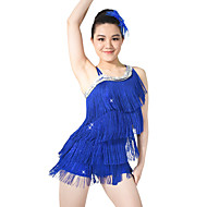 お買い得  ダンス用品-ラテンダンス ドレス スパンコール 女性用 子供用 性能 弾性ある スパンコール ライクラ スパンコール タッセル ノースリーブ ナチュラルウエスト ドレス 帽子