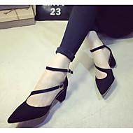 Naiset Kengät Nappanahka Kevät Kesä Comfort Mokkasiinit Block Heel Käyttötarkoitus Kausaliteetti Musta Harmaa