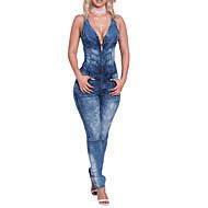 Mulheres Feriado / Para Noite / Bandagem Macacão - Ganga, Sólido Colarinho de Camisa Cintura Alta / Primavera / Verão / Skinny