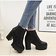 cheap Women's Boots-Women's Shoes Nappa Leather Winter Combat Boots Boots Chunky Heel Booties / Ankle Boots for Black