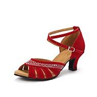 Per donna Scarpe per balli latini Brillantini / Finto camoscio Tacchi Diamanti sintetici / Fibbia Tacco cubano Scarpe da ballo Nero /