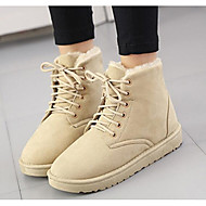 baratos Sapatos Femininos-Feminino Sapatos Tecido Inverno Botas de Neve Botas Salto Robusto Botas Curtas / Ankle para Casual Preto Bege Cinzento Vermelho