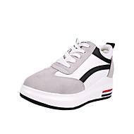レディース 靴 PUレザー 秋 冬 コンフォートシューズ ライト付きソール フラット 用途 カジュアル レッド ブラックとホワイト