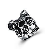 Homens Anel de declaração Aço Inoxidável Caveira Clássico Rock Hip-Hop Anéis Jóias Prata Para Cerimônia Bandagem 8 / 9 / 10 / 11 / 12