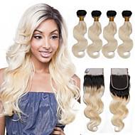 Недорогие -Натуральные волосы Бразильские волосы Волосы Уток с закрытием Наращивание волос 4 Черный / Bleach Blonde