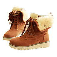 Women's Shoes Fleece Spring Fall Fur Lining Comfort Snow Boots Boots Wedge Heel Round Toe Mid-Calf Boots Lace-up For Casual Brown Yellow