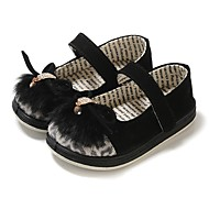 cheap Girls' Shoes-Girls' Shoes Fur Leather Spring Fall First Walkers Comfort Flats Rhinestone Animal Print Magic Tape Split Joint for Casual Black