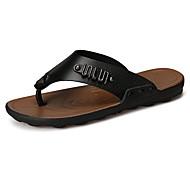 Herren Schuhe PU Frühling Herbst Komfort Slippers & Flip-Flops Schnürsenkel Für Normal Schwarz Orange Braun