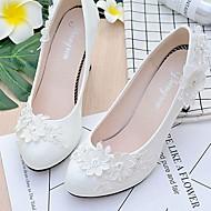 זול נעלי חתונה-בגדי ריקוד נשים נעליים תחרה / דמוי עור אביב / סתיו נוחות נעלי חתונה בוהן עגולה ריינסטון / דמוי פנינה / אפליקציות לבן / פאייטים