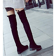 Women's Shoes Leather Nappa Leather Winter Fashion Boots Slouch Boots Boots Chunky Heel Thigh-high Boots For Casual Black