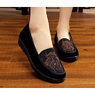 Women's Shoes Fabric Spring Fall Comfort Loafers & Slip-Ons For Casual Red Coffee