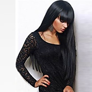 Synthetic Wig Straight Kardashian Style With Bangs Capless Wig Black Natural Black Synthetic Hair 24 inch Women's With Bangs Black Wig Long
