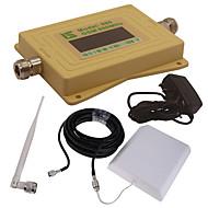 mini intelligent lcd display gsm980 900mhz mobiltelefon signal booster repeater med utendørs panel antenne / innendørs pisk antenne gul