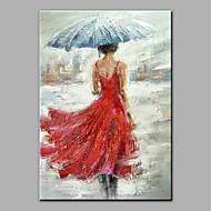 billiga Människomålningar-Hang målad oljemålning HANDMÅLAD - Människor Antik Utan innerram / Valsad duk