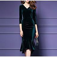 Feminino Tubinho Vestido,Casual Moda de Rua Sólido Decote Redondo Médio Mangas 3/4 Algodão Poliéster Outono Inverno Cintura Alta strenchy
