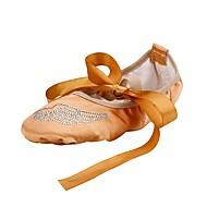 Dame Ballett Silke Flate Innendørs Akryl Diamant Flat hæl Kamel
