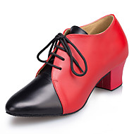 billige Moderne sko-Dame Moderne Lær Sandaler Joggesko Profesjonell Tykk hæl Svart Rød