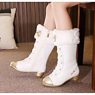 Mädchen Schuhe Künstliche Mikrofaser Polyurethan Herbst Winter Komfort Schneestiefel Stiefel Für Normal Weiß Schwarz Rosa