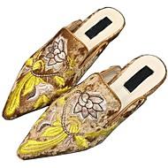 レディース 靴 ベルベット 春 夏 コンフォートシューズ エスパドリーユ ライト付きソール 下駄とミュール 用途 カジュアル ドレスシューズ ブラック Brown