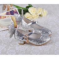 tanie Obuwie dziewczęce-Dla dziewczynek Buty PU Wiosna Jesień Tiny Obcasy dla młodzieży Buty dla małych druhen Szpilki na Casual Gold Silver Niebieski Różowy