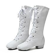 billige Jazz-sko-Dame Jazz-sko Lerret Støvler / Joggesko Lav hæl Dansesko Hvit / Svart / Rød