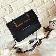 baratos Bolsas de Ombro-Mulheres Bolsas PU Bolsa Transversal Botões Verde Escuro / Marron / Cinzento Claro