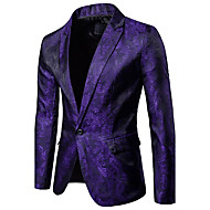 cheap -Men's Party / Daily / Daily Wear Sophisticated Spring / Fall Regular Blazer, Solid Colored / Floral Shirt Collar Long Sleeve Cotton Black / Red / Purple XL / XXL / XXXL / Slim