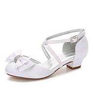 Para Meninas sapatos Seda Primavera Outono Conforto Bailarina Tira no Tornozelo Sapatos para Daminhas de Honra Salto minúsculos para