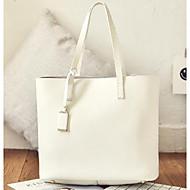 baratos Bolsas Tote-Mulheres Bolsas Pele Tote Botões Branco / Preto / Cinzento