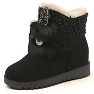 レディース 靴 フリース 冬 スノーブーツ ブーツ ラウンドトウ 用途 ブラック グレー ダークブラウン