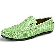 Homens sapatos Couro Ecológico Primavera / Verão Conforto Mocassins e Slip-Ons Preto / Cinzento Claro / Verde Claro