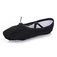 cheap Ballet Shoes-Women's Ballet Shoes Canvas Full Sole / Sneaker Professional Flat Heel Dance Shoes Black / Red / Pink