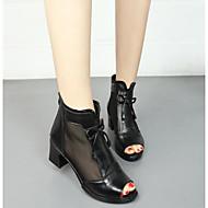 Damen Schuhe Echtes Leder Frühling Herbst Pumps Sandalen Für Normal Schwarz